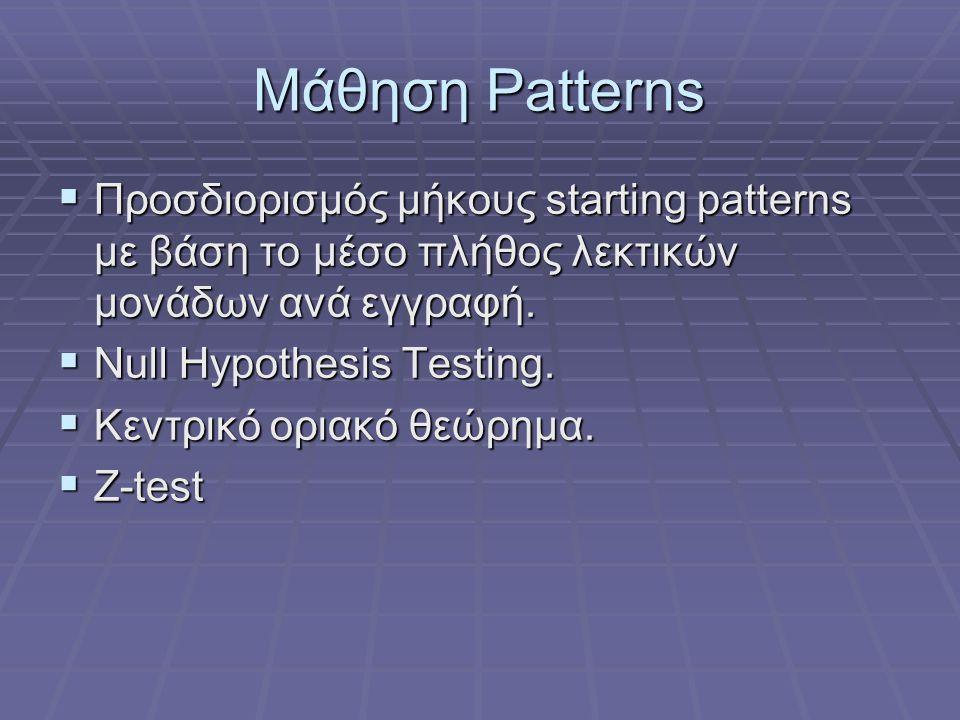 Μάθηση Patterns Προσδιορισμός μήκους starting patterns με βάση το μέσο πλήθος λεκτικών μονάδων ανά εγγραφή.