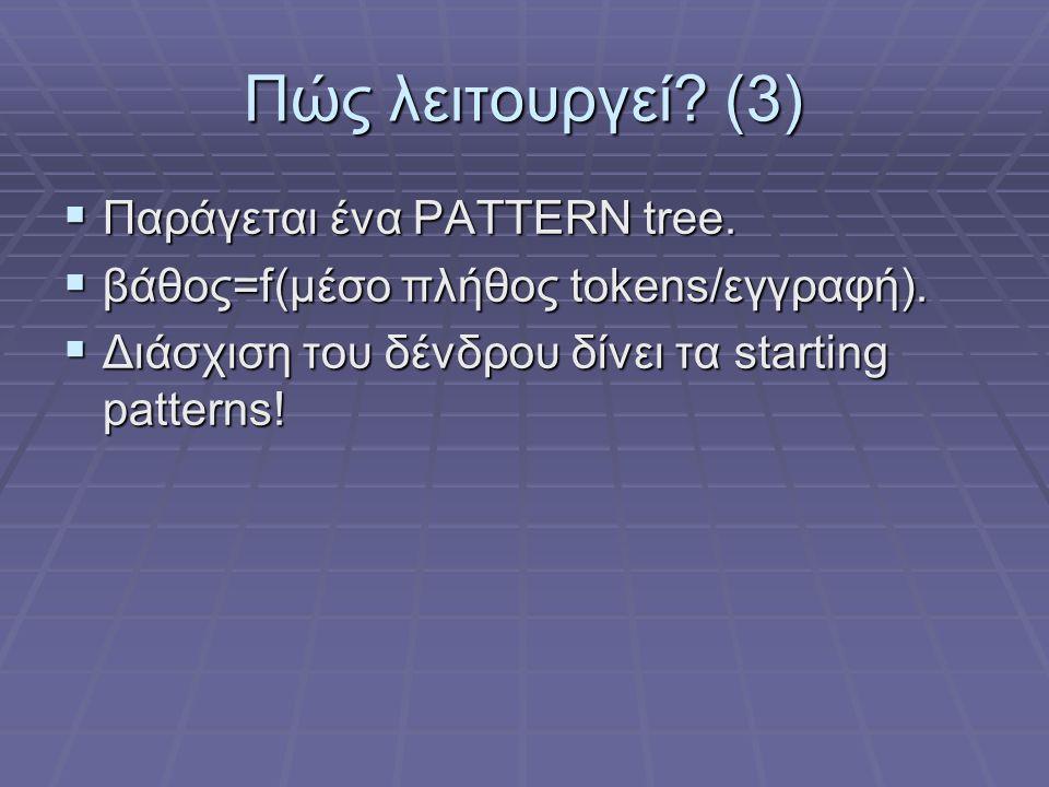 Πώς λειτουργεί (3) Παράγεται ένα PATTERN tree.