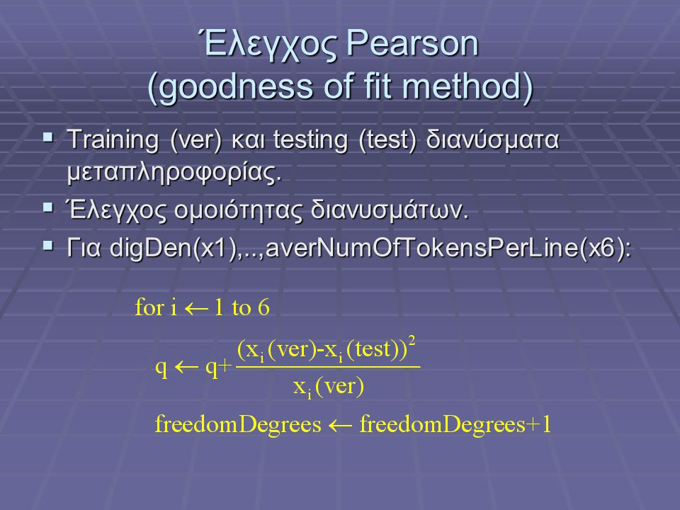Έλεγχος Pearson (goodness of fit method)