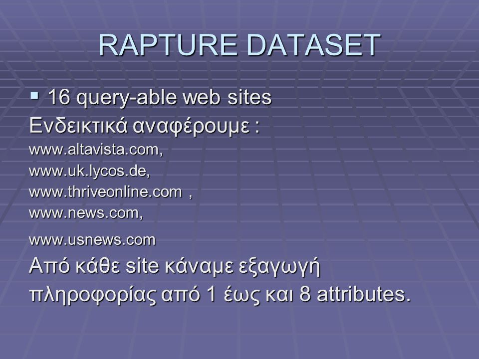 RAPTURE DATASET 16 query-able web sites Ενδεικτικά αναφέρουμε :