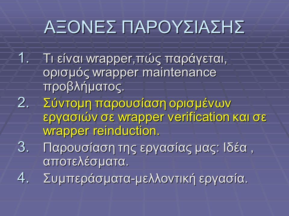 ΑΞΟΝΕΣ ΠΑΡΟΥΣΙΑΣΗΣ Τι είναι wrapper,πώς παράγεται, ορισμός wrapper maintenance προβλήματος.
