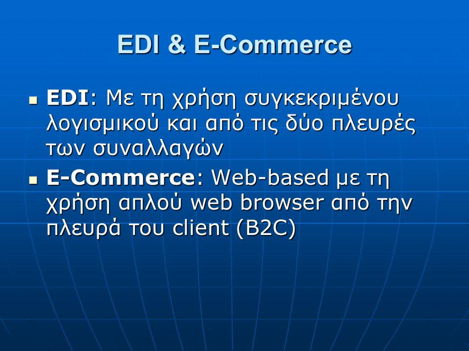 EDI & E-Commerce EDI: Με τη χρήση συγκεκριμένου λογισμικού και από τις δύο πλευρές των συναλλαγών.