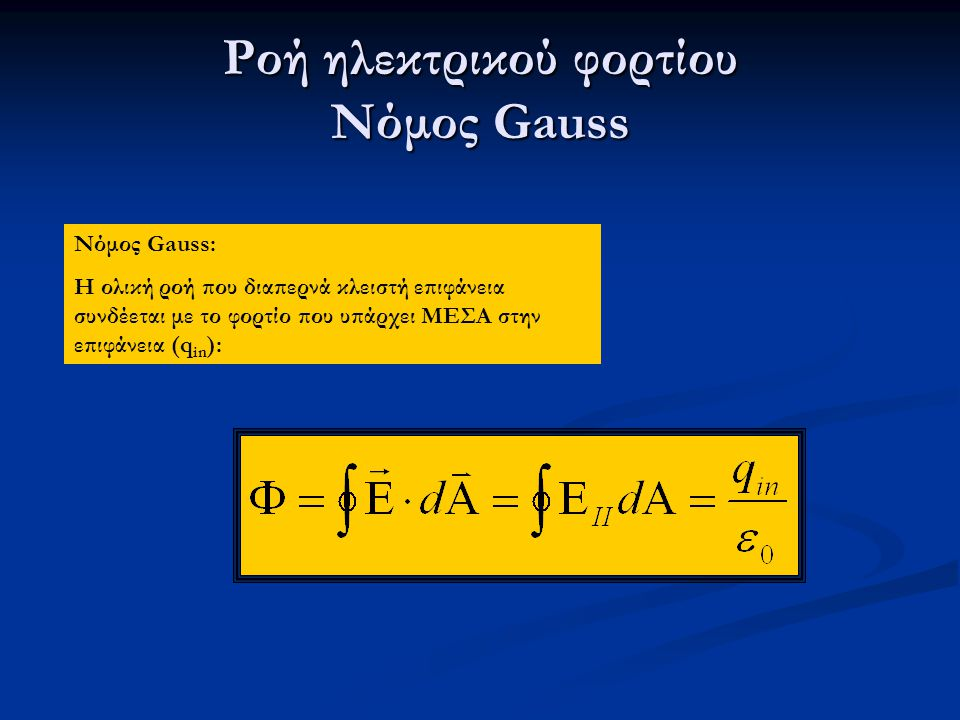 Ροή ηλεκτρικού φορτίου Νόμος Gauss