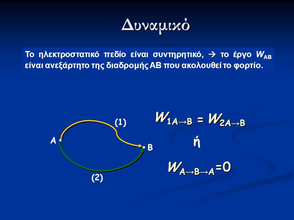 Δυναμικό W1A→B W2A→B = ή WA→B→A=0