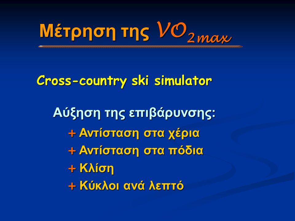 Μέτρηση της VO2max Cross-country ski simulator Αύξηση της επιβάρυνσης: