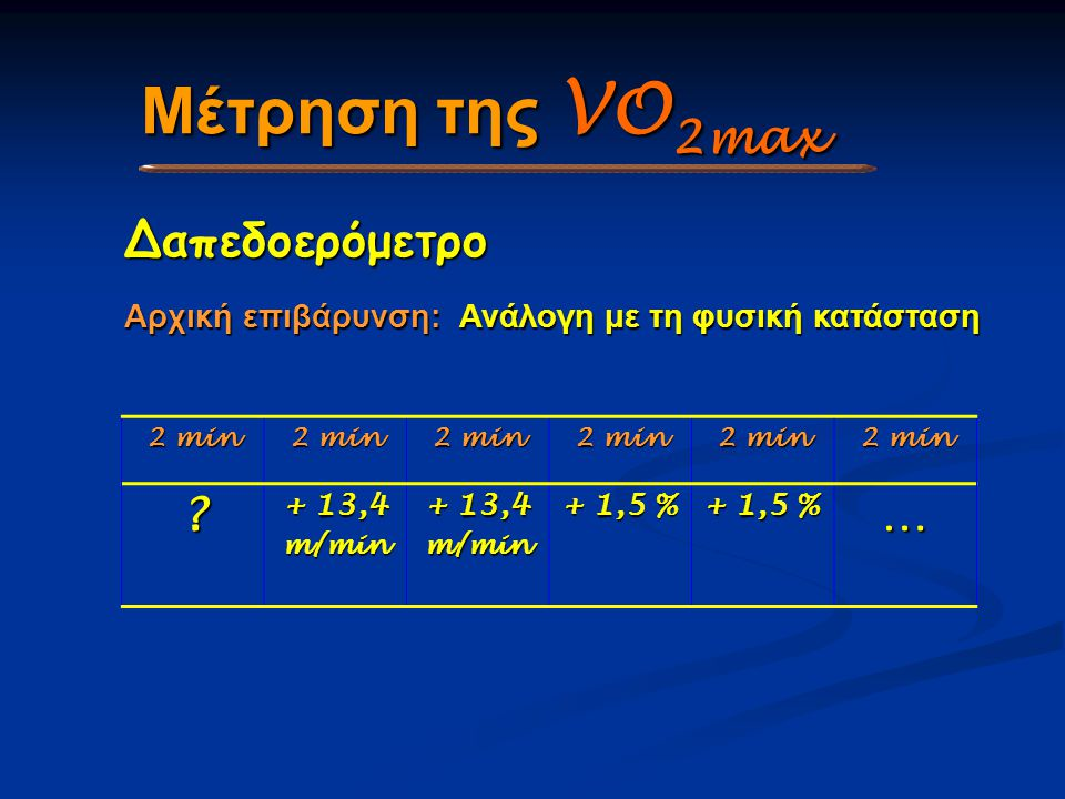 Μέτρηση της VO2max Δαπεδοερόμετρο …
