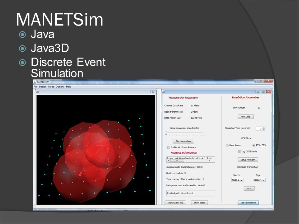 MANETSim Java Java3D Discrete Event Simulation