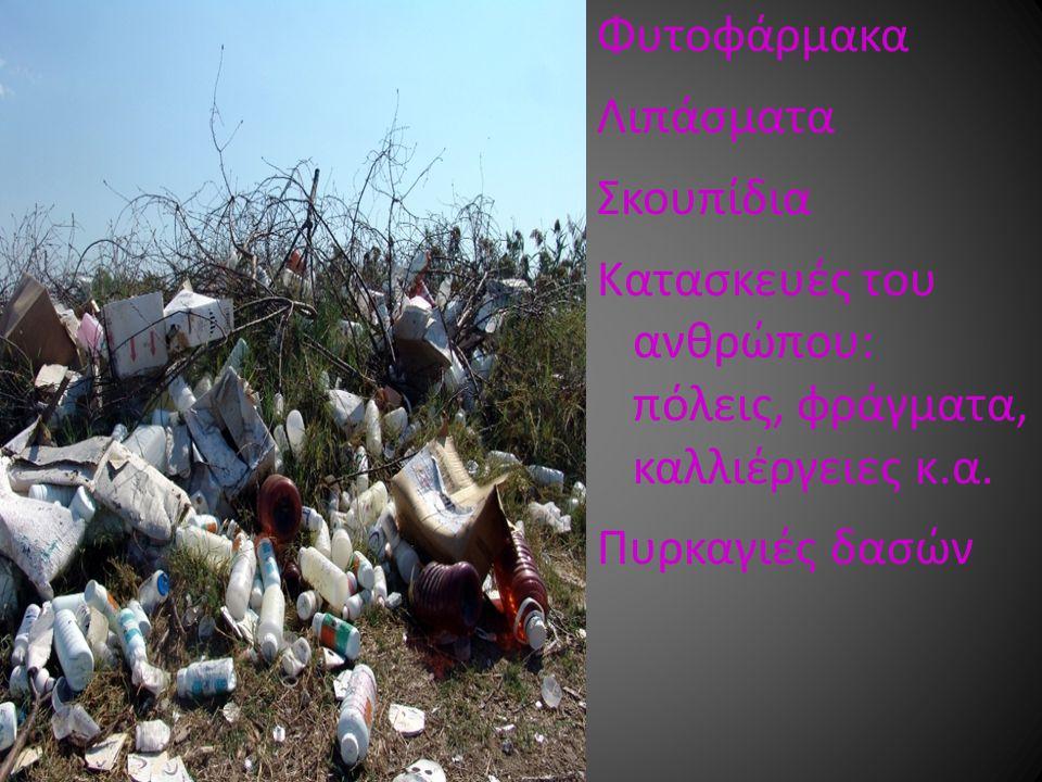 Φυτοφάρμακα Λιπάσματα. Σκουπίδια. Κατασκευές του ανθρώπου: πόλεις, φράγματα, καλλιέργειες κ.α.