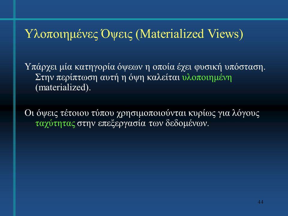 Υλοποιημένες Όψεις (Materialized Views)