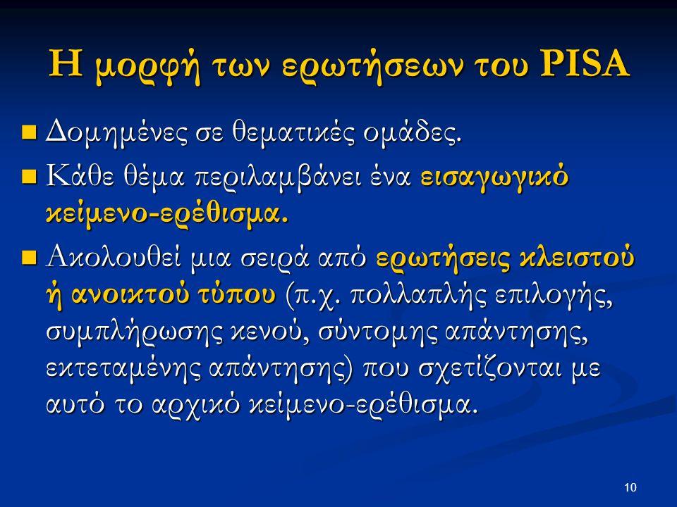 Η μορφή των ερωτήσεων του PISA