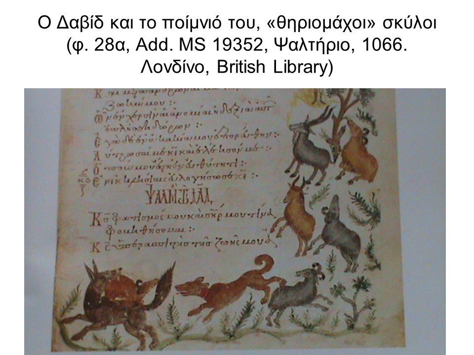 Ο Δαβίδ και το ποίμνιό του, «θηριομάχοι» σκύλοι (φ. 28α, Add