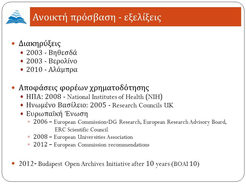Ανοικτή πρόσβαση - εξελίξεις