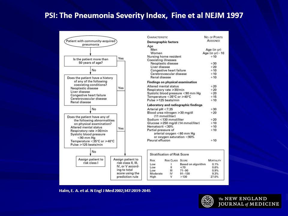 PSI: The Pneumonia Severity Index, Fine et al NEJM 1997