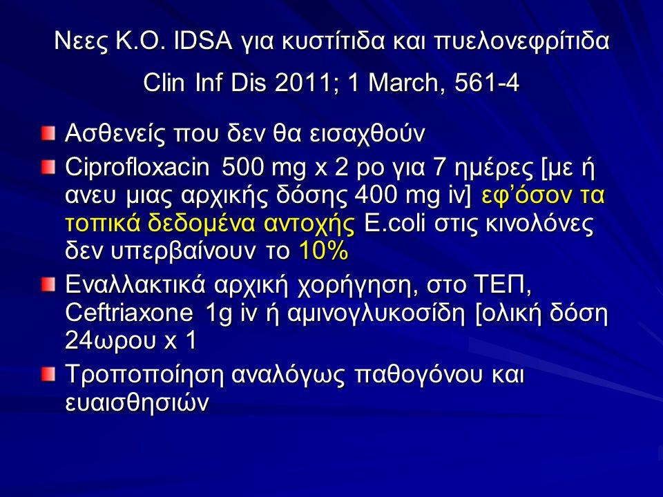 Νεες Κ.Ο. IDSA για κυστίτιδα και πυελονεφρίτιδα Clin Inf Dis 2011; 1 March, 561-4