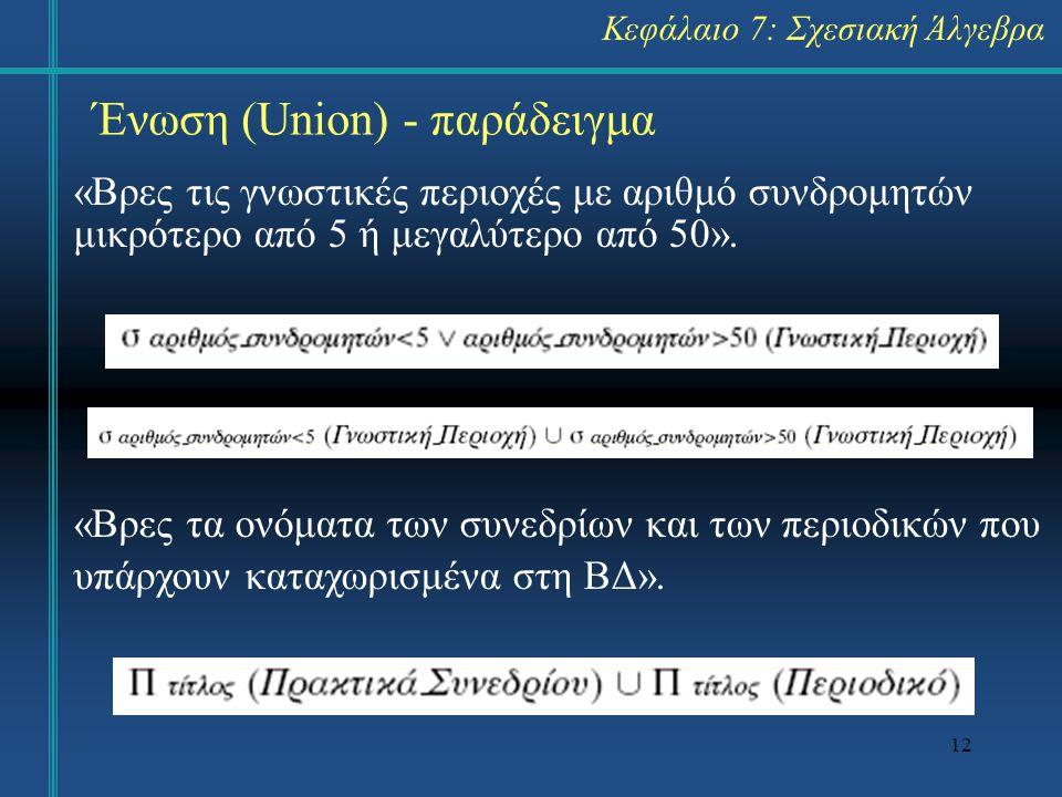 Ένωση (Union) - παράδειγμα