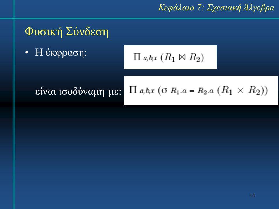 Φυσική Σύνδεση Η έκφραση: είναι ισοδύναμη με: