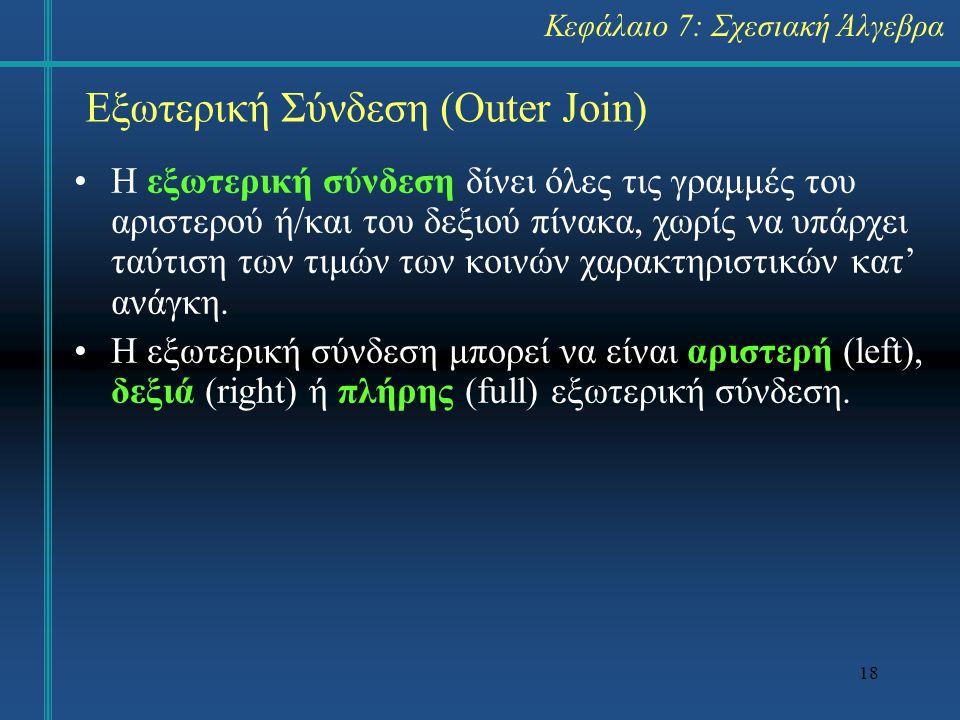 Εξωτερική Σύνδεση (Outer Join)