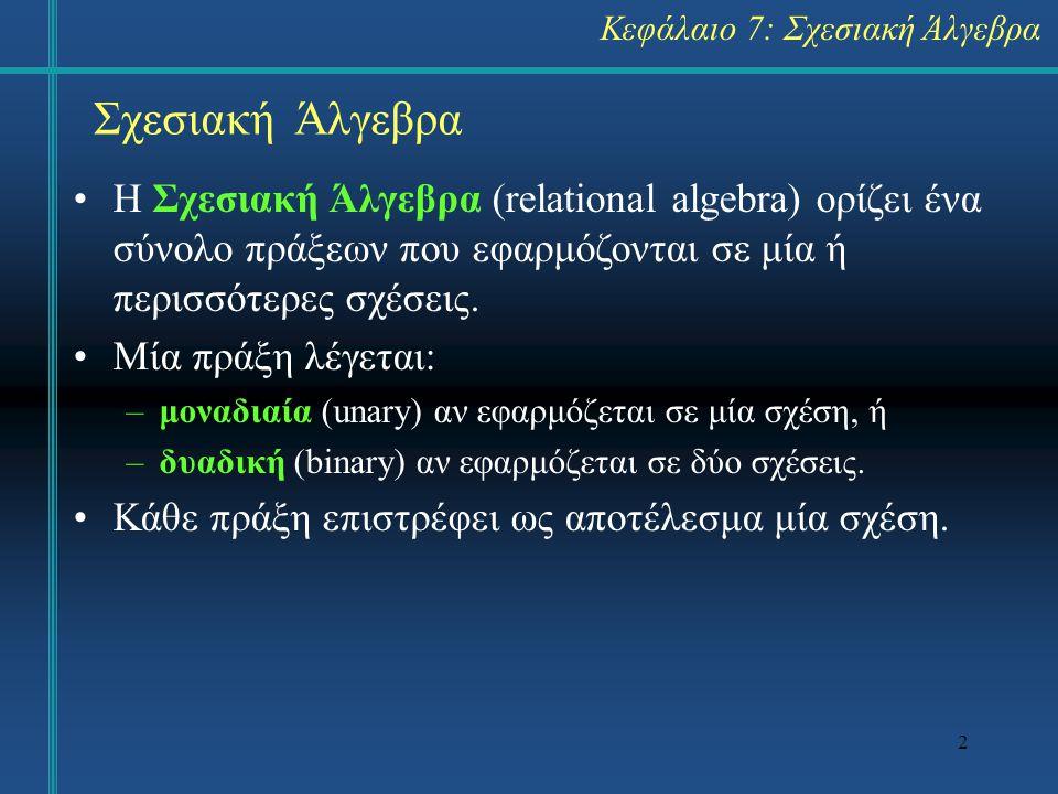 Κεφάλαιο 7: Σχεσιακή Άλγεβρα