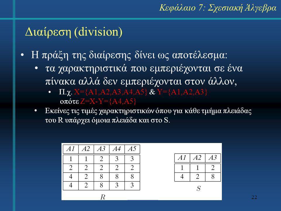 Διαίρεση (division) Η πράξη της διαίρεσης δίνει ως αποτέλεσμα: