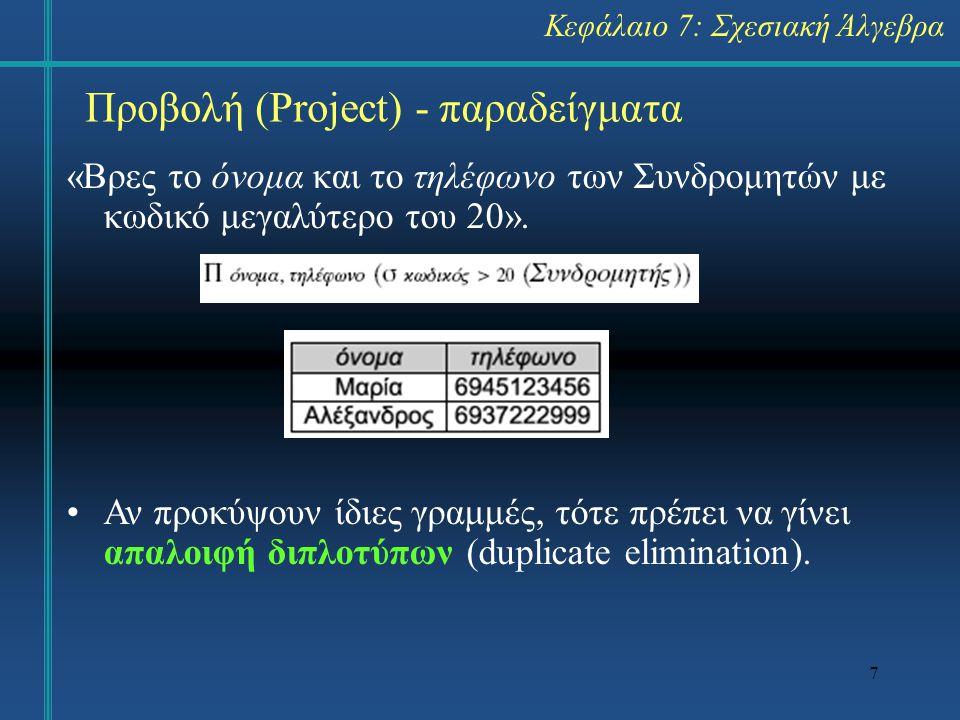 Προβολή (Project) - παραδείγματα
