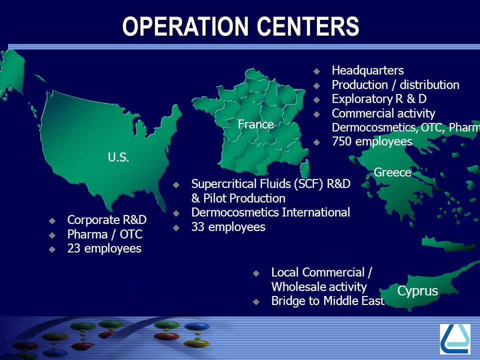 OPERATION CENTERS Cyprus Headquarters Production / distribution
