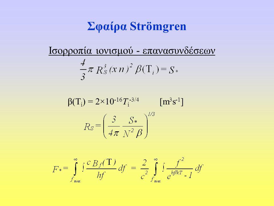 Σφαίρα Strömgren Ισορροπία ιονισμού - επανασυνδέσεων