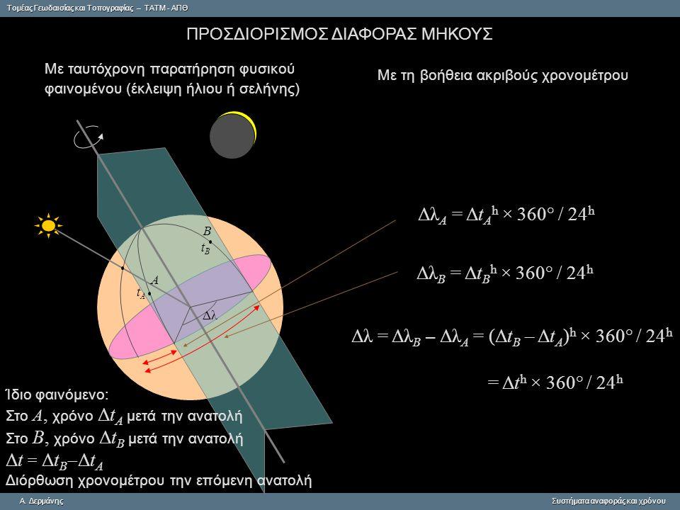 Δλ = ΔλΒ – ΔλΑ = (ΔtΒ – ΔtΑ)h × 360° / 24h
