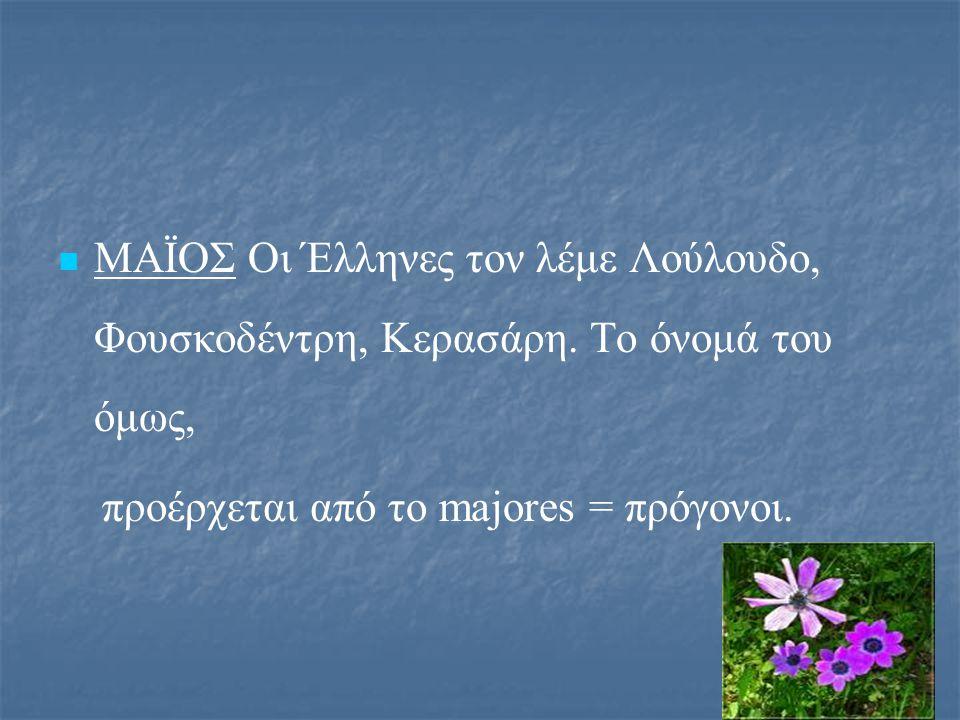 ΜΑΪΟΣ Οι Έλληνες τον λέμε Λούλουδο, Φουσκοδέντρη, Κερασάρη