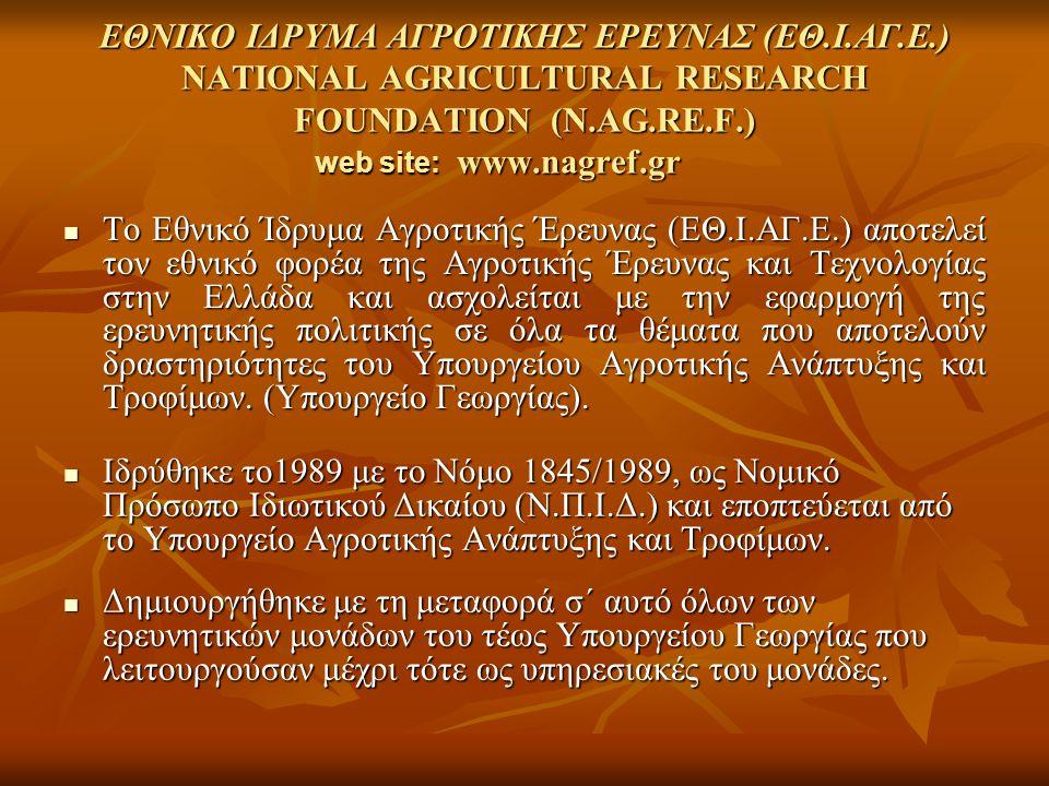 ΕΘΝΙΚΟ ΙΔΡΥΜΑ ΑΓΡΟΤΙΚΗΣ ΕΡΕΥΝΑΣ (ΕΘ. Ι. ΑΓ. Ε
