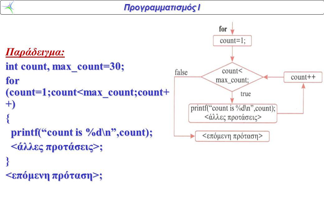 Παράδειγμα: int count, max_count=30; for (count=1;count<max_count;count++) { printf( count is %d\n ,count);