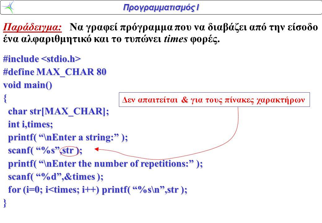 Παράδειγμα: Να γραφεί πρόγραμμα που να διαβάζει από την είσοδο ένα αλφαριθμητικό και το τυπώνει times φορές.