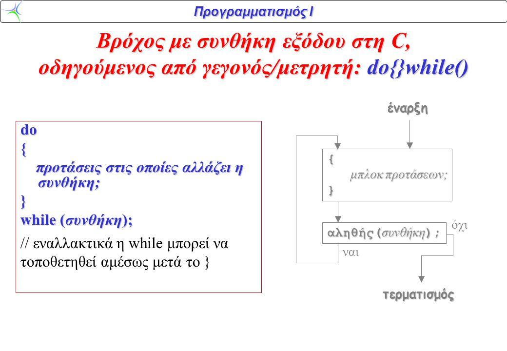 Βρόχος με συνθήκη εξόδου στη C, οδηγούμενος από γεγονός/μετρητή: do{}while()