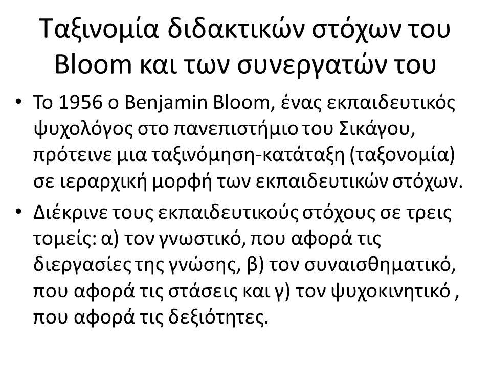 Ταξινομία διδακτικών στόχων του Bloom και των συνεργατών του