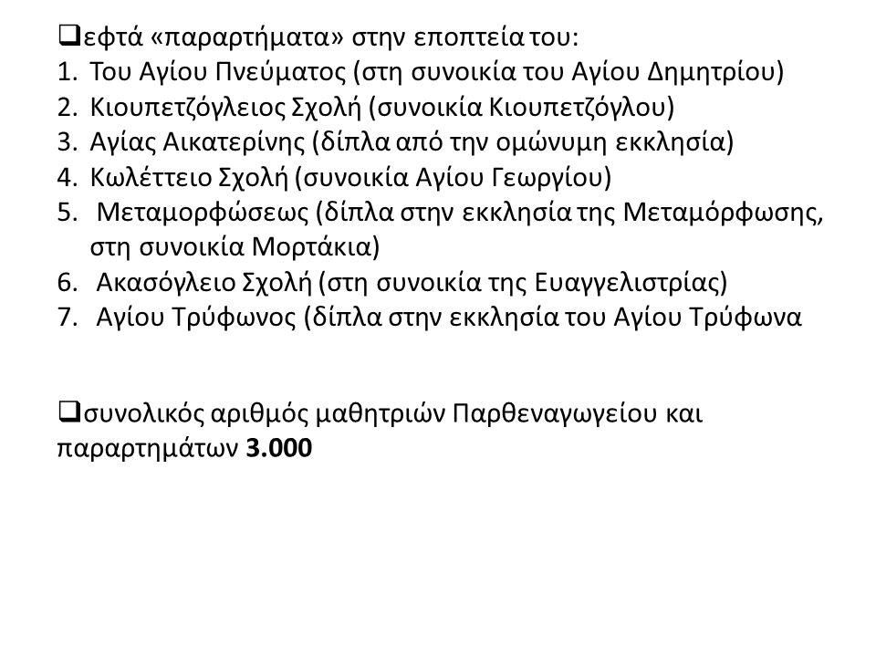 εφτά «παραρτήματα» στην εποπτεία του: