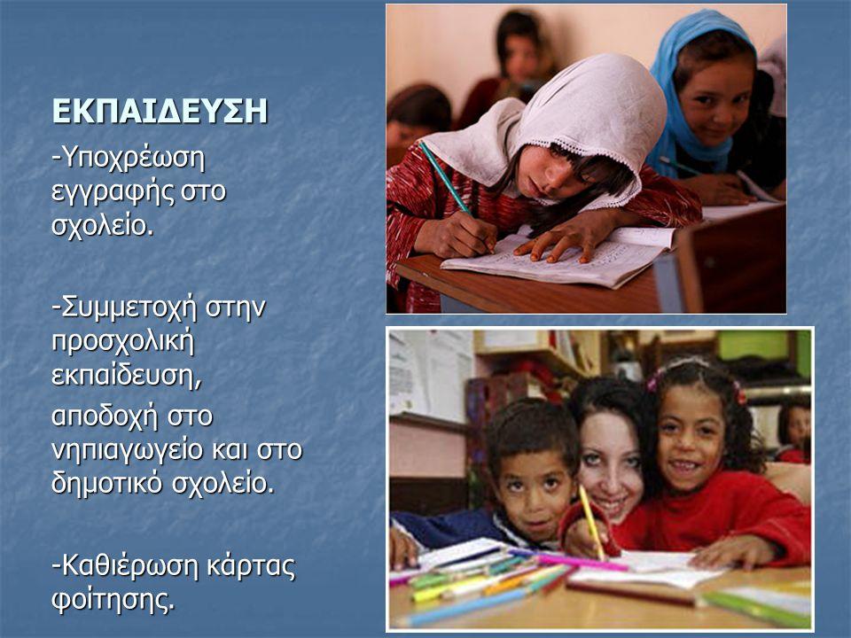 ΕΚΠΑΙΔΕΥΣΗ -Υποχρέωση εγγραφής στο σχολείο.