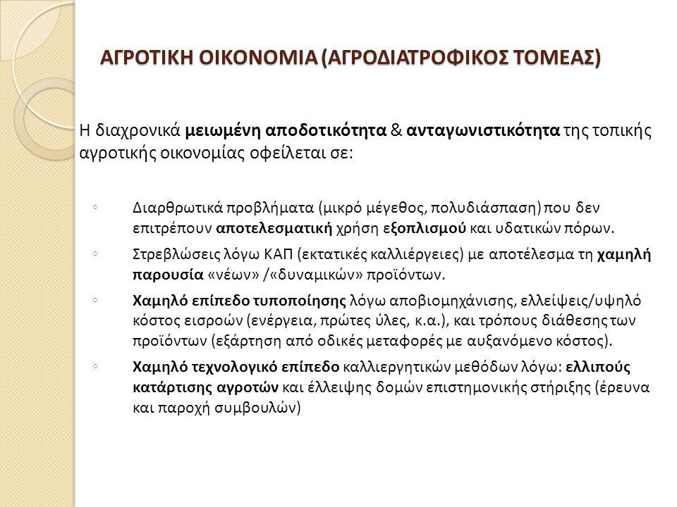ΑΓΡΟΤΙΚΗ ΟΙΚΟΝΟΜΙΑ (ΑΓΡΟΔΙΑΤΡΟΦΙΚΟΣ ΤΟΜΕΑΣ)