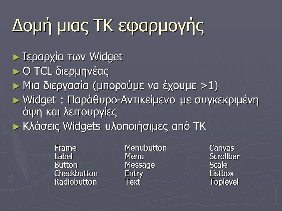 Δομή μιας ΤΚ εφαρμογής Ιεραρχία των Widget O TCL διερμηνέας