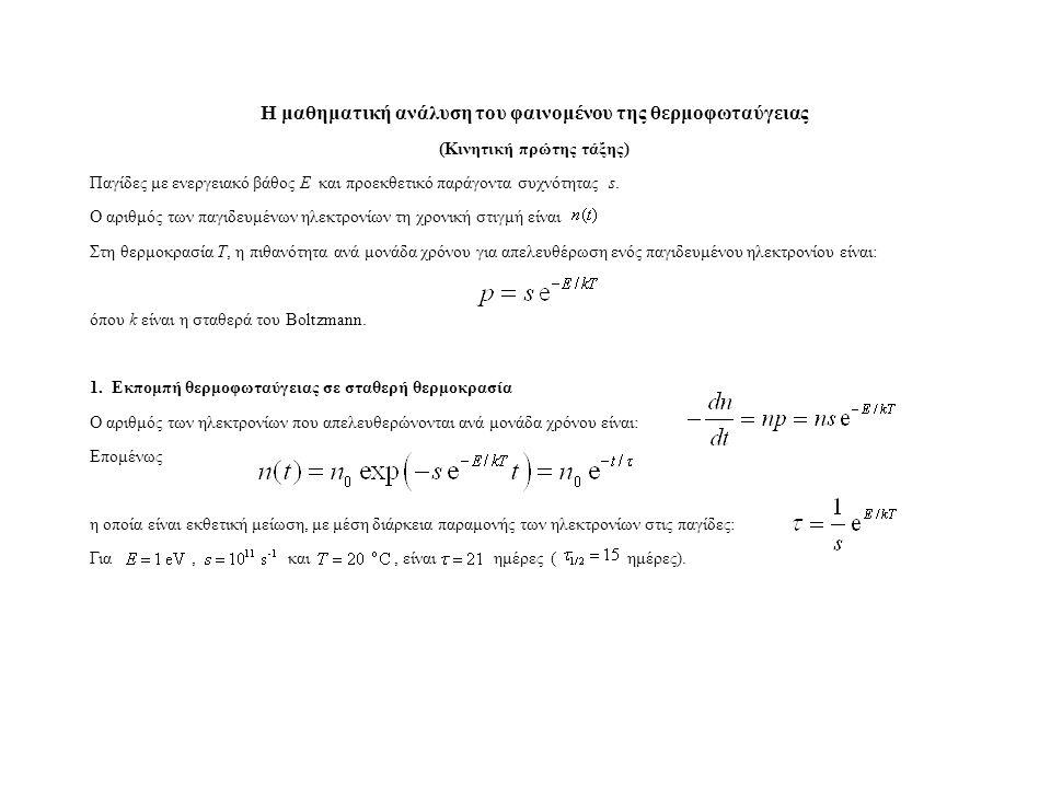 Η μαθηματική ανάλυση του φαινομένου της θερμοφωταύγειας