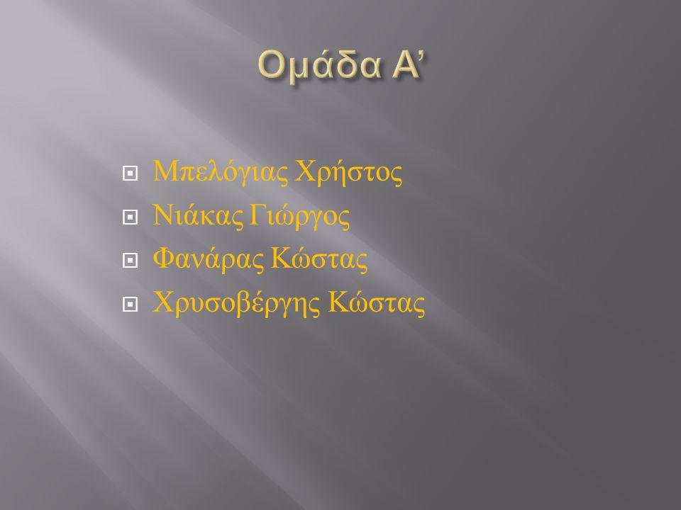 Ομάδα Α' Μπελόγιας Χρήστος Νιάκας Γιώργος Φανάρας Κώστας