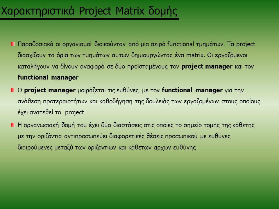 Χαρακτηριστικά Project Matrix δομής