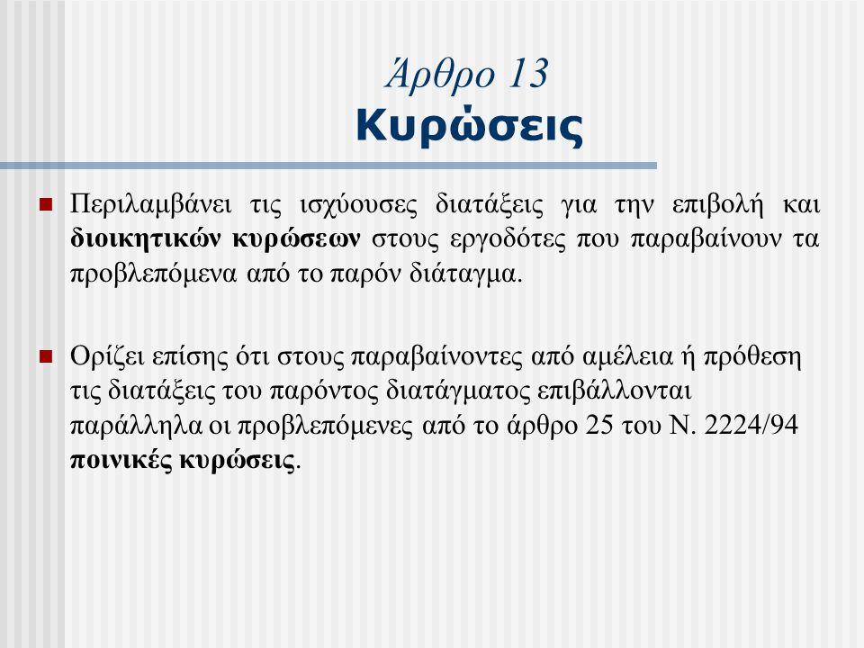 Άρθρο 13 Κυρώσεις