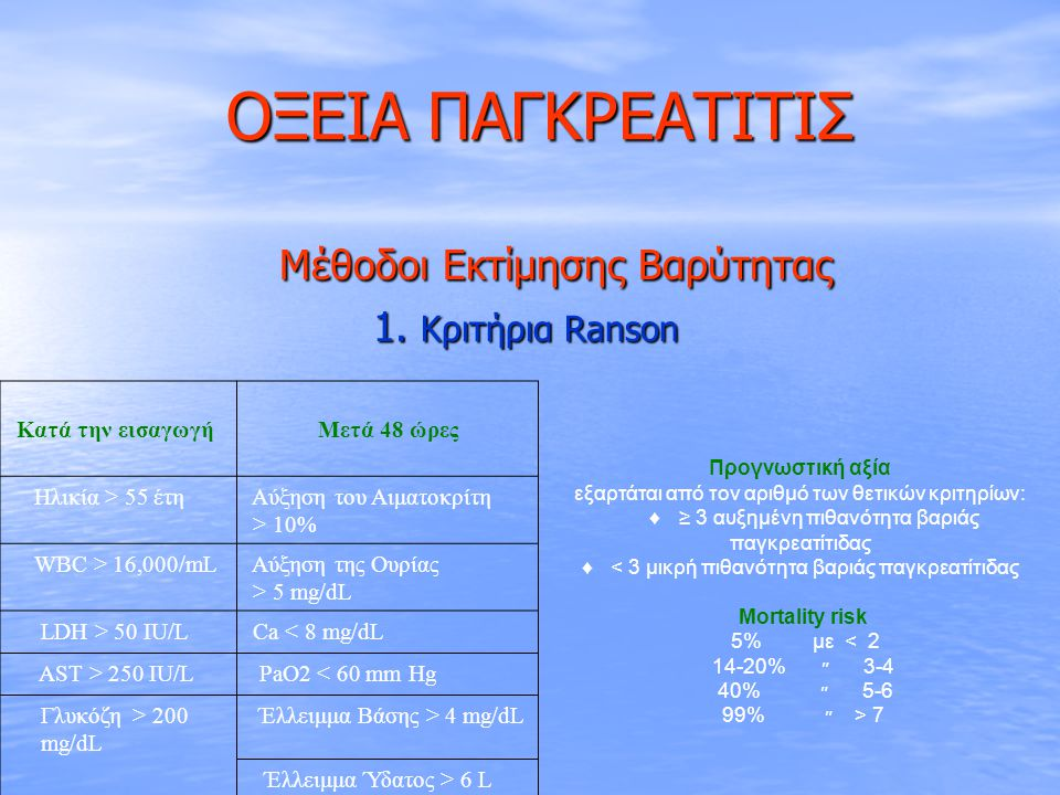 ΟΞΕΙΑ ΠΑΓΚΡΕΑΤΙΤΙΣ Μέθοδοι Εκτίμησης Βαρύτητας 1. Κριτήρια Ranson