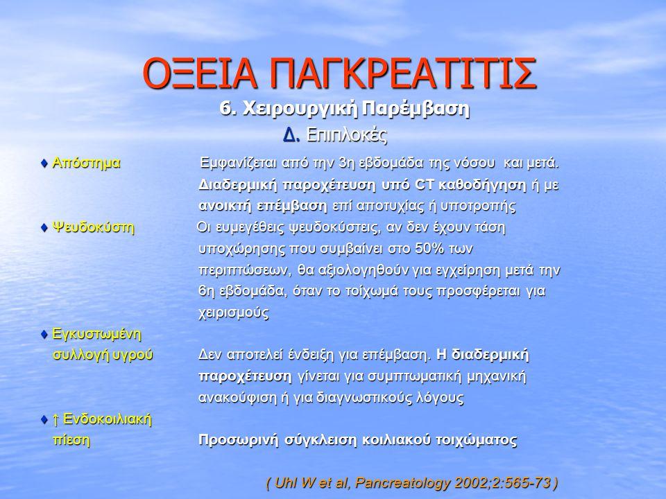 ΟΞΕΙΑ ΠΑΓΚΡΕΑΤΙΤΙΣ 6. Χειρουργική Παρέμβαση Δ. Επιπλοκές