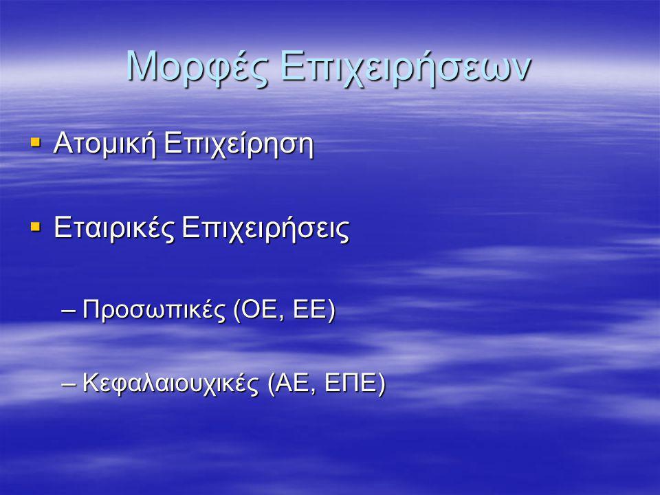 Μορφές Επιχειρήσεων Ατομική Επιχείρηση Εταιρικές Επιχειρήσεις