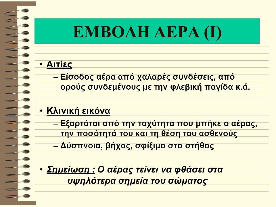 ΕΜΒΟΛΗ ΑΕΡΑ (Ι) Αιτίες Κλινική εικόνα
