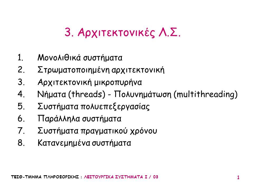 3. Αρχιτεκτονικές Λ.Σ. Μονολιθικά συστήματα