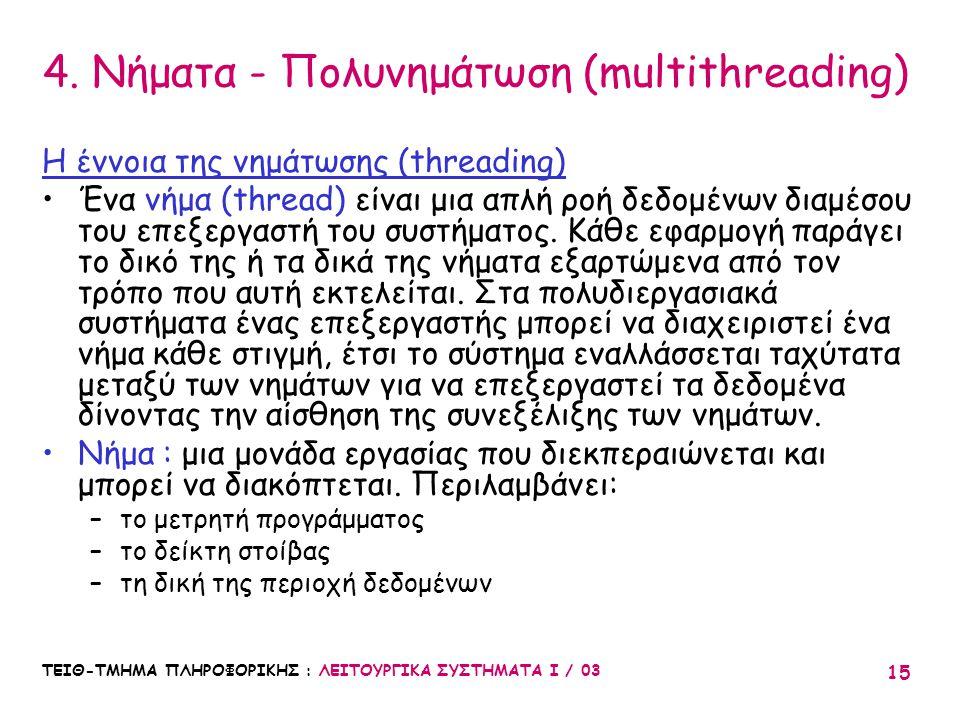 4. Νήματα - Πολυνημάτωση (multithreading)