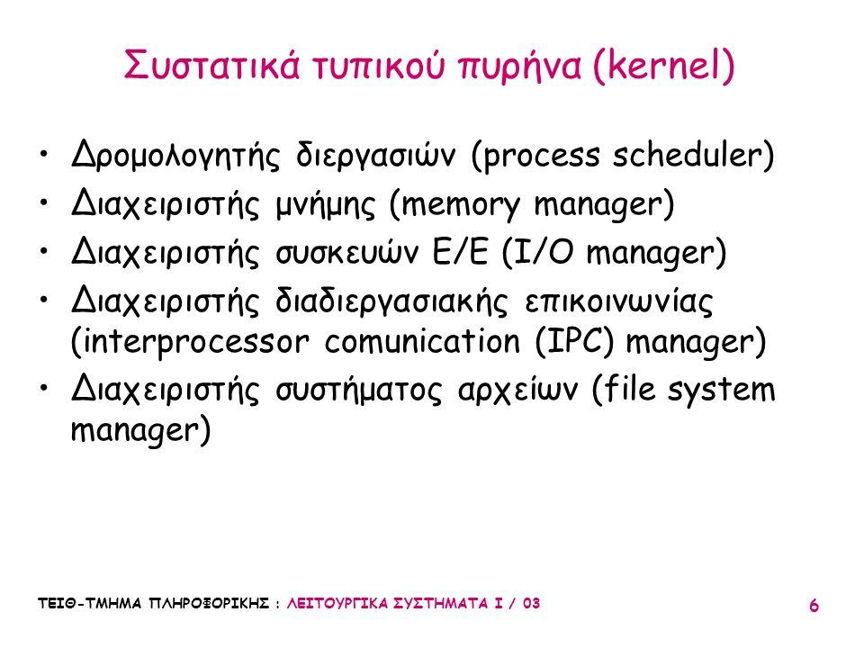 Συστατικά τυπικού πυρήνα (kernel)