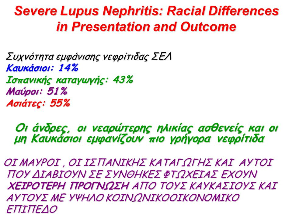 Severe Lupus Nephritis: Racial Differences in Presentation and Outcome