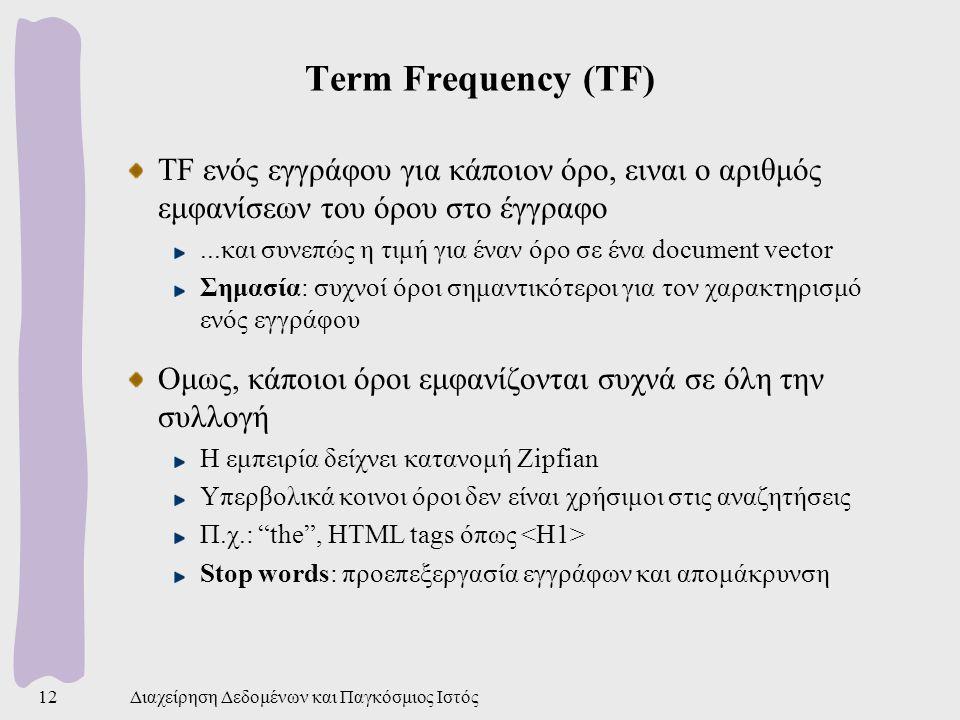 Term Frequency (TF) TF ενός εγγράφου για κάποιον όρο, ειναι ο αριθμός εμφανίσεων του όρου στο έγγραφο.